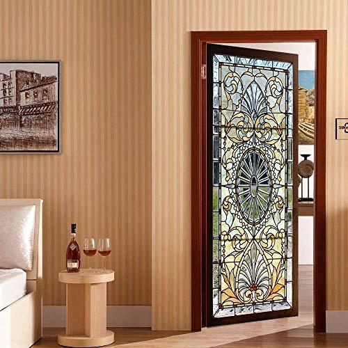 Junenoma 3D zelfklevend glas in lood raam deur muurschildering Sticker slaapkamer behang huisdecoratie 30.3