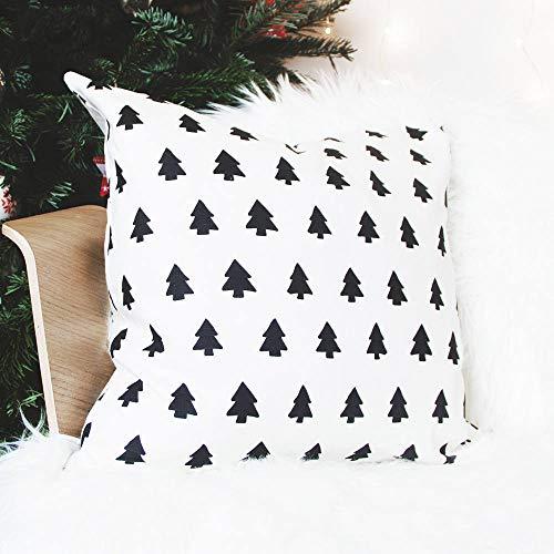 Se556th Scandi Weihnachtskissen mit Bäumen, handgefertigt, skandinavischer Stil, Weiß