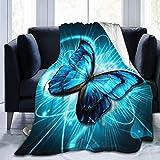 Colcha de Micro Terciopelo con Estampado de Mariposa Azul Suave, Adecuada para sofá, Cama, Sala de Estar, sofá 60'x50' A