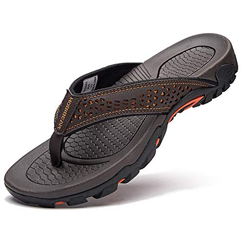 GUBARUN Mens Sport Flip Flops Comfort Casual Thong Sandals Outdoor(Brown 1, 10)