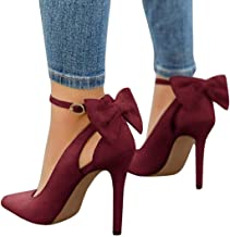 Fashare Womens High Heels Pointed Toe Bowtie Back Ankle Buckle Strap Wedding Evening Party Dress Pumps Shoes