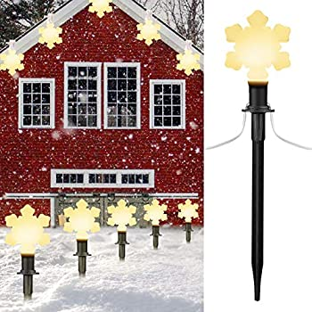 Snowflake Christmas Pathway String Lights Outdoor 7.16 Feet 2 Pack White Wire with Stake Clips Pluggable Hangable Waterproof Connectable Holiday Party Walkway Decor 10 Lights Warm White