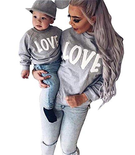 Minetom Maman Et Bébé Enfants Imprimé Col Rond Manches Longues Sweat-Shirt Tops Mignon Fille Garçon Pullover Vêtements De Famille Gris + Blanc FR 42 (Maman)