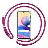 Étui à breloques transparent pour Xiaomi Redmi Note 10 5G/Poco M3 Pro 5G avec cordon rose fuchsia