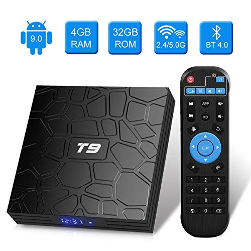 Android 9.0 TV BOX, Android Box con telecomando,Turewell T9 RK3318 Quad Core 64 bit 4 GB RAM 32 GB ROM Smart TV BOX, 2.4Ghz/5.0Ghz Wi-Fi integrato,BT4.0, Uscita HDMI, Box TV UHD 4K TV Box
