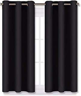 NICETOWN Living Room Blackout Curtains and Drapes, Black Solid Thermal Insulated Grommet Blackout Drapery Panels for Window (2 Panels,29 inches Wide by 45 inches Long,Black)