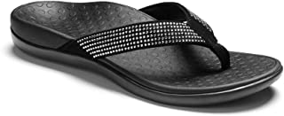 Vionic Women's Tide Rhinestones Toe-Post Sandal - Ladies Flip-Flop with Concealed Orthotic Arch Support