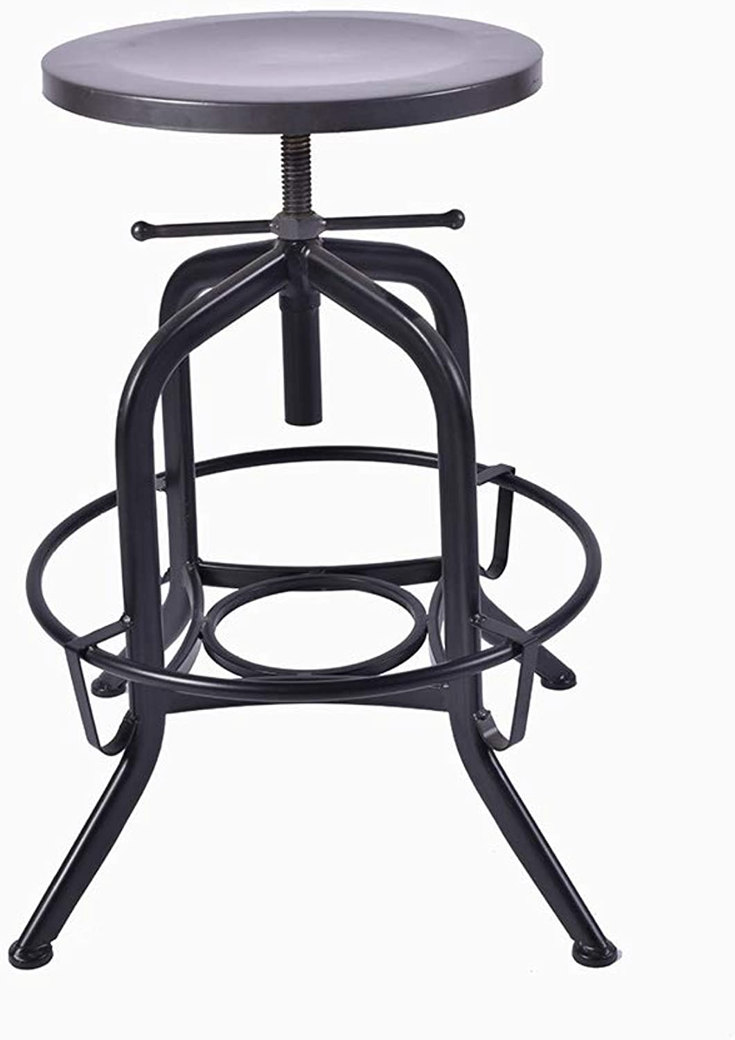 NUBAO Counter Chair, High Stool, Industrial Style Creative Wrought Iron Bar Stool Vintage Old Coffee Shop Stool Bolt redating Bar Stool Lift 60-75cm Black (color   Black)
