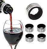 UP.PLUS 5 Stück Edelstahl Weinring,Tropf-Stop Weinring,Bar Craft Tropfring für Wein,mit Filz Ausgekleidet, Abnehmbar und Waschbar