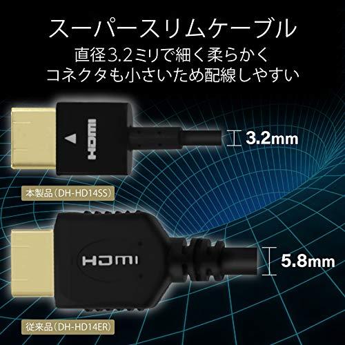 『エレコム HDMI ケーブル 1.5m 4K×2K対応 スーパースリム ブラック DH-HD14SS15BK』の3枚目の画像