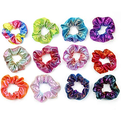 ZIZZON Shiny Metallic Scrunchies Elastics Hair Bands Scrunchy Hair Tie Ropes Hair Accessories for Women Girls 12pcs