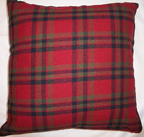 Ideal Textiles, Patchwork Heart Cushion Covers, Wool Blend Cushions, Embroidered Tartan Check, Pillow Covers, 18' x 18', 45cm x 45cm (Red)