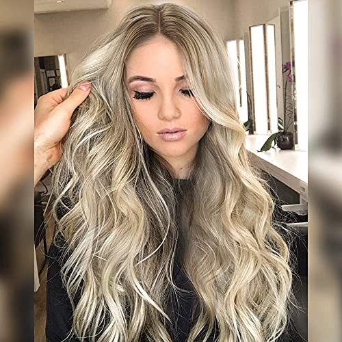 PINKSHOW Ash Blonde Lace Front Wigs Long Natural Wavy Synthetic Wigs for Women Dark Root Ash Blonde Realistic Hairline Daily Party Heat Resistant Hair