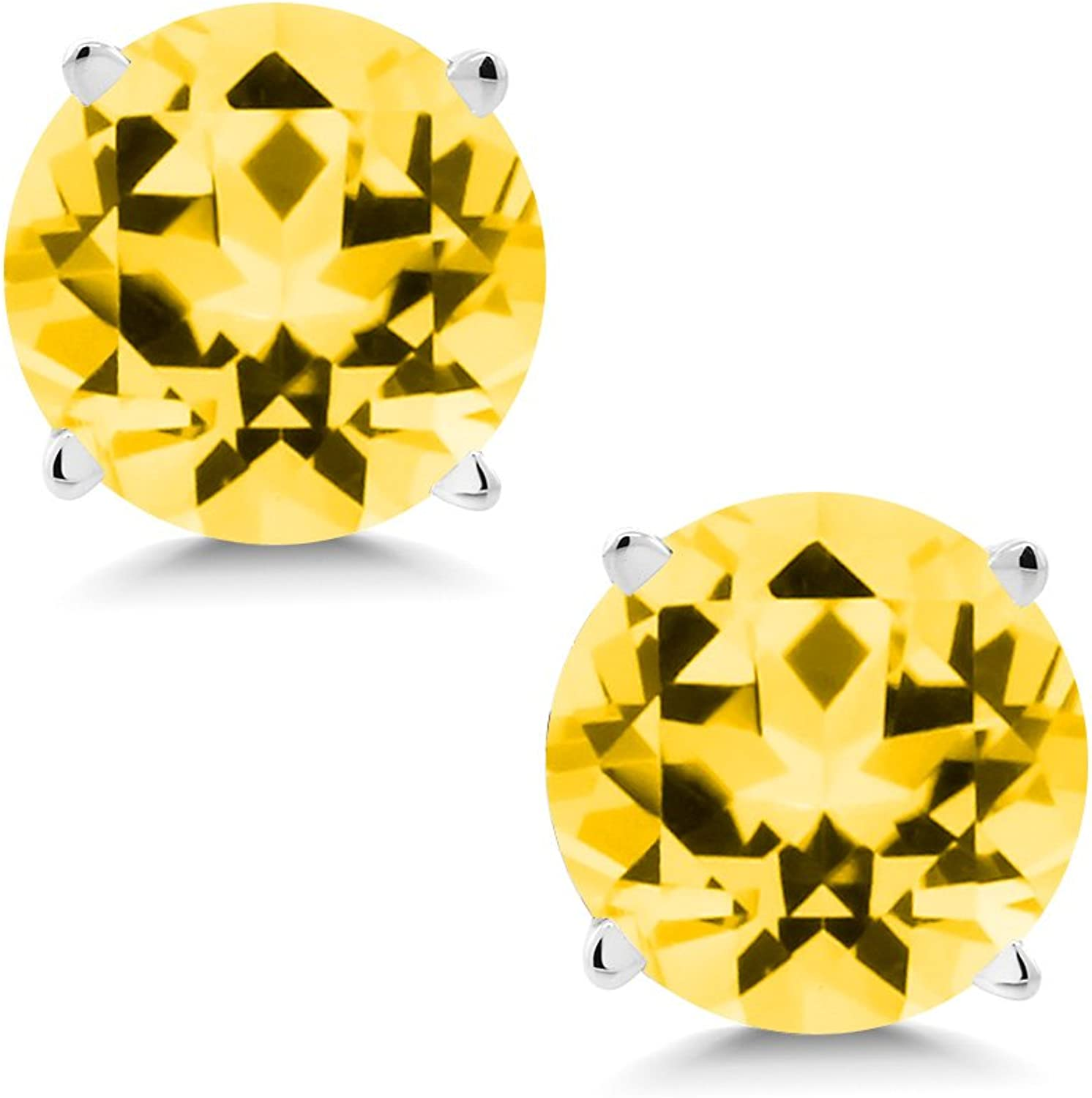 2.00 Ct Honey 14K White gold Earrings Natural Topaz Cut by Swarovski