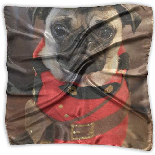 Uridy Cool Pug Dog Police Women 'S Impreso Square Bufanda Tocado Cuello Bufandas de satén Wrap Chal Pañuelo