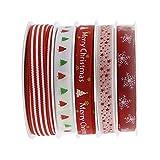 5 x 5 metros de estilos de Navidad Grosgrain tela de satén cinta set de regalo paquete de regalo, clip de pelo para hacer accesorios, manualidades, costura, decoración de bodas