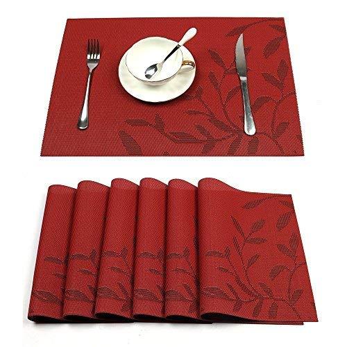Pauwer Tisch-Platzmatte, 6er Set Esstisch-Platzmatten, Rutschfeste Gewobene Platzmatten, Hitzefeste Tischmatte, Waschbare Platzmatten, Einfach zu Reinigen (6,Rot Leaf)