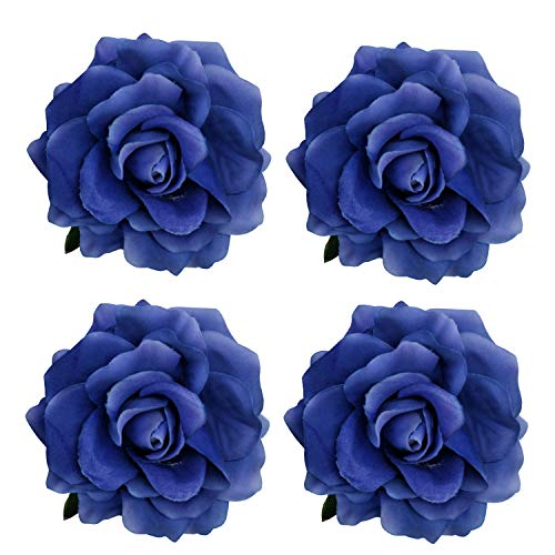 La Homein 4pcs/Pack Fabric Rose Hair Flowers Clips Mexican Hair Flowers Blue Hairpin Brooch Headpieces (Royal Blue)
