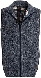 shelikes Mens Winter Sweater Vest Top Zip Up Knitted Knitwear Bonded Fur Line Sleeveless Gilet Warm Vest Coat