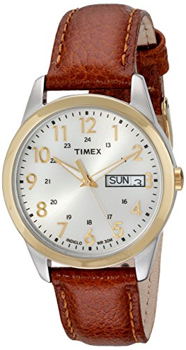 Timex Men's T2N105 South Street Sport Brown Leather Strap Watch for $9.00