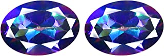 Deluxe Gems 1.97 ct Matching Pair Oval Cut (7 x 5 mm) Fancy Mystic Sea Child Topaz Natural Gemstone