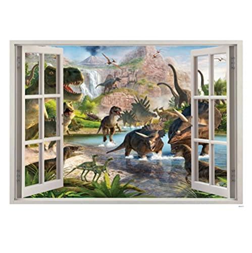 ZZFGXX Pegatinas De Pared,Dinosaurio 3d EstéReo Falso Ventana Etiqueta De La Pared 47x33cm Adecuado Para La DecoracióN De Paredes De Dormitorio, Sala De Estar Y HabitacióN Infantil