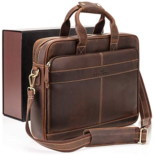 leather laptop bags Luxorro Leather Briefcases For Men   Soft, Full Grain Leather Laptop Bag For Men W/hand Stitching That Will Last A Lifetime   Slim But Spacious   Fits 15.6-inch Laptops, Dark Brown
