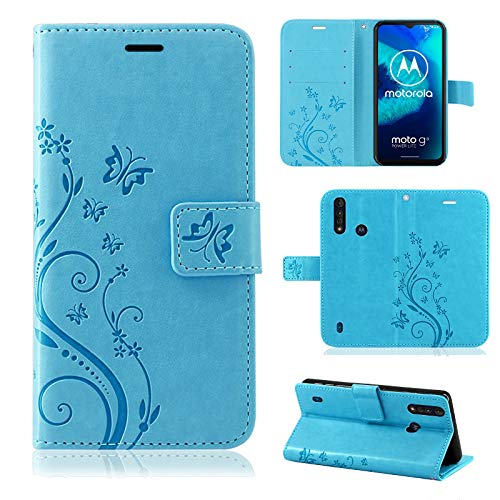 betterfon | Motorola Moto G8 Power Lite Hülle Handy Tasche Handyhülle Blume Etui Wallet Hülle Schutzhülle mit Magnetverschluss/Kartenfächer für Motorola Moto G8 Power Lite Blau
