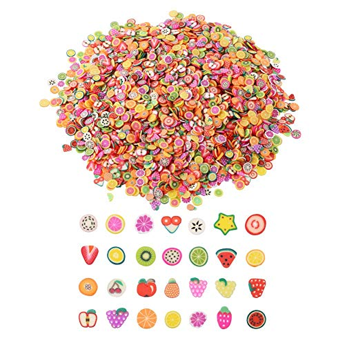 VEYLIN 3200 Pieces Mini 3D Fruit Slices Fruit Fimo Slices for Slime Crafts Nail Art and Face Decoration
