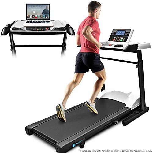 Sportstech Deskfit 2-in-1 scrivania e Tapis roulant Professionale Regolabile DFT500 + Console Bluetooth Compatibile con App, Tapis roulant per Camminare o Allenarsi Prodotto casa e Ufficio
