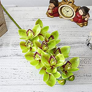 Fake Flower Real Touch 3D Printing Artificial Cymbidium Orchid Flower Latex Hand Feel Simulation Flower for Home Wedding Decoration Artificial Roses Flower (Color : Green)