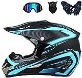 YXLM - Casco de motocross para adulto, accesorio para motocross, incluye guantes, guantes de moto/máscara, cascos de motocross, niño, casco integral BMX, azul, rojo, amarillo (azul, M)