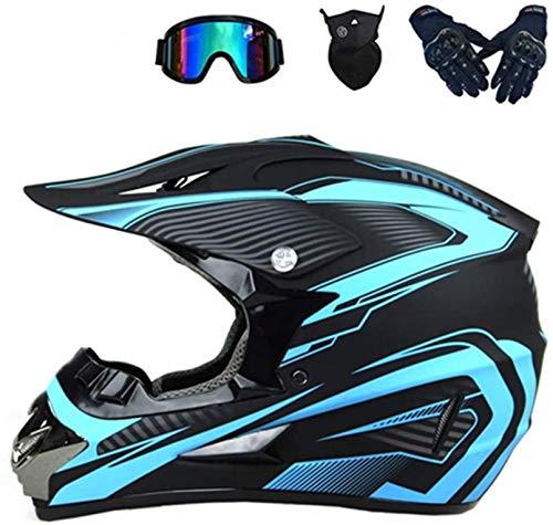 YXLM Motocross-Helm, für Erwachsene, Zubehör für Motorrad, Cross, mit Goggle/Handschuhen, Motorrad/Maske, Helme für Motocross, Kinder, Blau, Rot, Gelb (Blau, L)