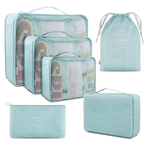 Organizzatori di viaggio, Cubi di Imballaggio lavanderia sacchetto dei bagagli Compressione Sacchetti Bag per i vestiti, Cosmetici, scarpe (Verde)