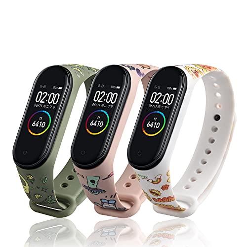 LETEASE Correas para Xiaomi Mi Band 4 Mi Band 3, Pulsera Reloj Silicona Banda Compatible con Xiaomi Mi Band 4 Band 3, Personalizados Correa de Pulsera Repuesto para Xiaomi Smart Band 4 3 (3 Piezas)