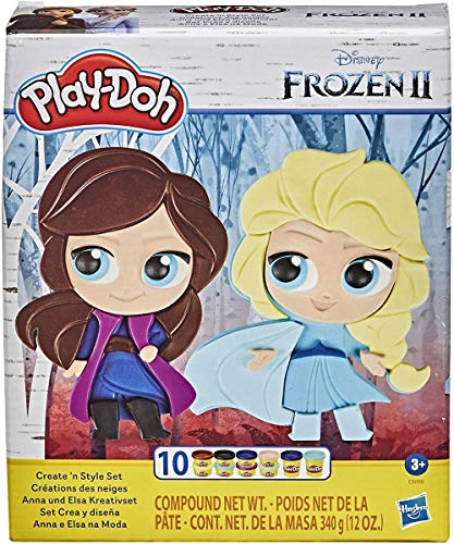 Play-Doh Featuring Disney Frozen 2 Create 'n Style Set Anna and Elsa Toy for Children Aged 3 and Up with 10 Play-Doh Pots, Non-Toxic