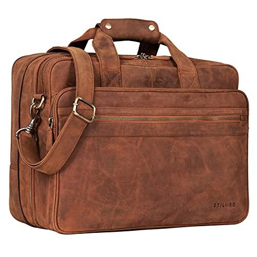 STILORD 'Leopold' Grande borsa in pelle da Insegnante Professore Portadocumenti a tracolla per Ufficio Lavoro A4 raccoglitori in cuoio Uomo Donna, Colore:tan marrone - scuro