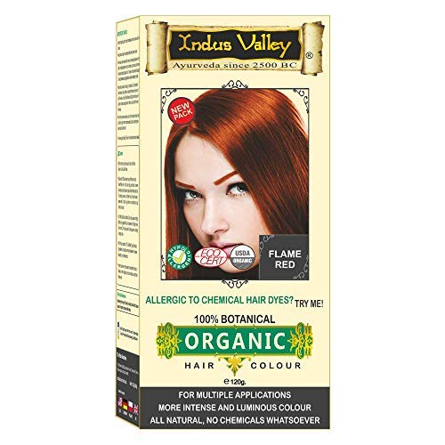 Indus Valley 100% Botanical 100% Organic Flame Red Natural Hair Dye for Sensitive Skin, For Allergy Sufferers- 120 gm