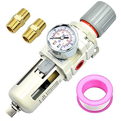 Tailonz Pneumatic 1/2 Inch NPT Air Filter Pressure Regulator AW4000, Water-Trap Air Tool Compressor Filter with Gauge from TAILONZ PNEUMATIC