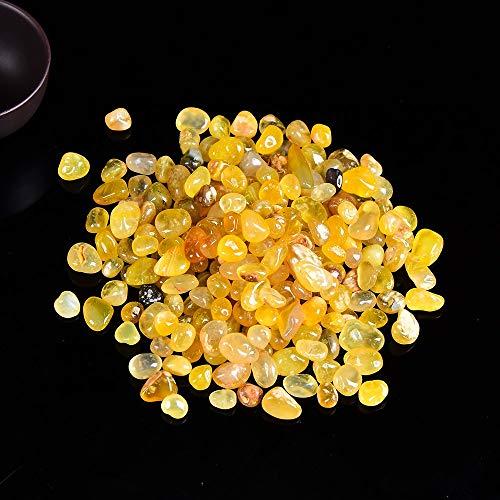 OYZK Natural ágata roja Piedra Grava de muestras Cristal Natural de Cuarzo de Color ágata Energía Curación del Acuario Decoración (Color : Yellow Agate, Talla : 100g)