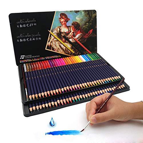 CNMF 72 aquarel kleurpotloden, genummerd met penseel in metalen doos aquarel schilderset set 72 in water oplosbare kleurstiften, uniek en verschillende schilderijen voor volwassenen en kunstenaars