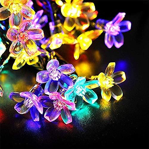 Guirnaldas Luces Exterior Solar, Lámparas Solares de Flor Cadena Exterior Jardín, LED Impermeable Luces de Hadas, Luces Decoracion para Terraza Hogar Jardín Arboles Patio Bodas (5m/20LED,Multi Colour)