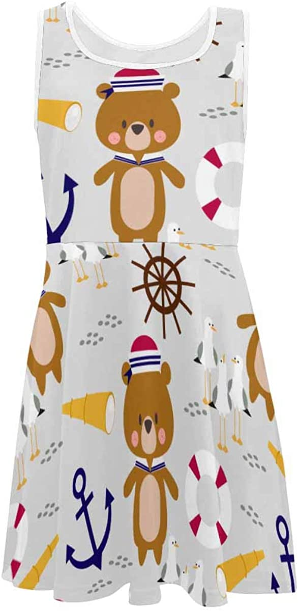 INTERESTPRINT Girls Summer Dresses Sleeveless Dress Casual Party Dress 4-13 Years Little Bear Sailor Marine Background XL