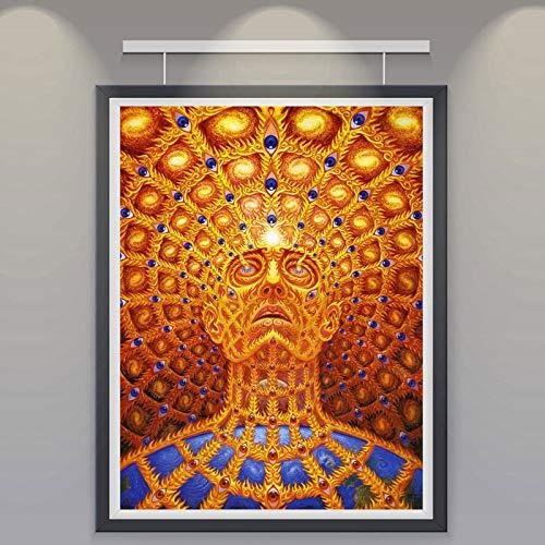 yhyxll Wandkunst Alex Grey Oversoul Silk Poster und Print Trippy Psychedelic Abstrakte Malerei Bilder für Wohnzimmer Wohnkultur Eine 50x70 cm