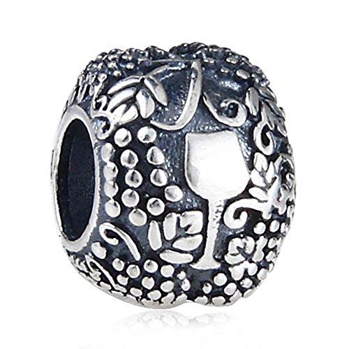 Vino Charm in argento Sterling 925 per braccialetti Pandora