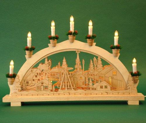 yanka-style Schwibbogen Lichterbogen Weihnachtsmarkt 10flammig innenbeleuchtet Weihnachten Advent Geschenk Dekoration (10777)