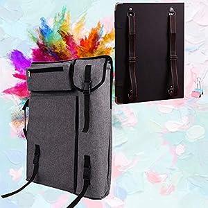 Caballete y Lienzo Conjunto for Adultos de Gran Capacidad Mochila for visualización Artes y Manualidades HUYP (Color : Gray, Size : Canvas Bag and Sketchpad)