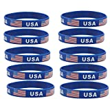 JDXN 5-10 Pcs USA American Flag Day Silicone Rubber Bracelets Wristbands Fitness Sport United States (10 Pack)