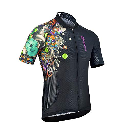 Darevie Cycling Jersey Men Summer Cool Breathable Cycling Jersey Flower Arm (XL) Black