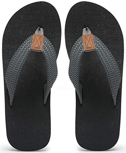 MAIITRIP Mens Flip Flops Size 12,Summer Beach Shoes,Male Non Slip Rubber Shower Thong Sandals,Grey